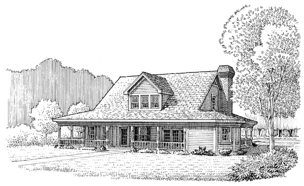 Country Farmhouse Southern House Plan 90347 Rear Elevation