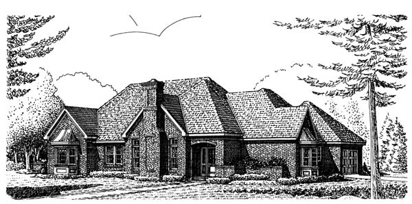 European House Plan 90349 Elevation
