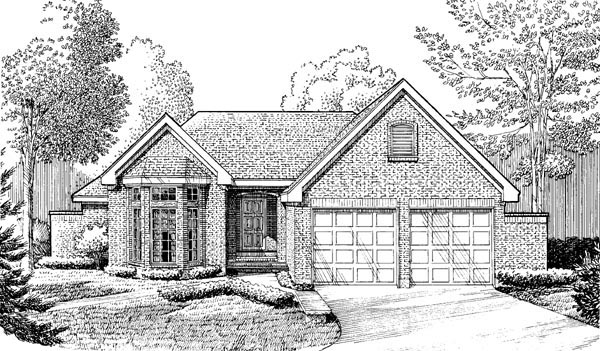 Contemporary, European, One-Story House Plan 90352 with 2 Beds, 2 Baths, 2 Car Garage Elevation