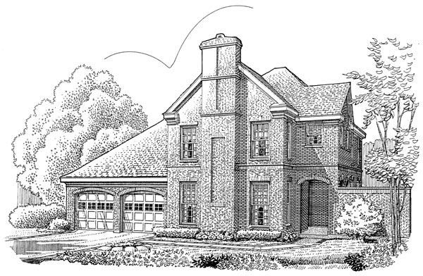 Contemporary, European House Plan 90353 with 2 Beds, 4 Baths, 2 Car Garage Elevation