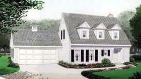 House Plan 90355 | Cape Cod Contemporary Style Plan with 1526 Sq Ft, 3 Bedrooms, 2 Bathrooms, 2 Car Garage Elevation