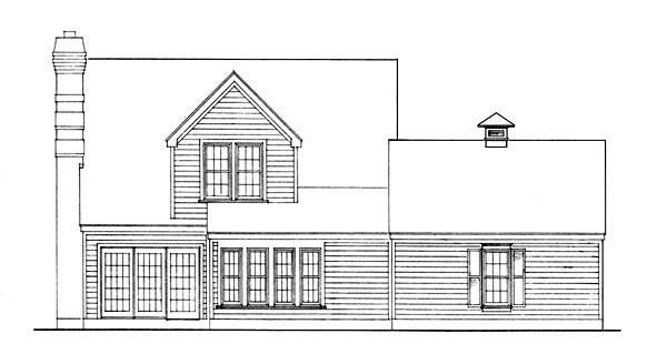 House Plan 90355 | Cape Cod Contemporary Style Plan with 1526 Sq Ft, 3 Bedrooms, 2 Bathrooms, 2 Car Garage Rear Elevation