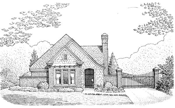 Cabin, Contemporary, Craftsman, European, One-Story House Plan 90356 with 2 Beds, 2 Baths, 2 Car Garage Elevation