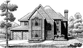 Contemporary European Traditional House Plan 90357 Elevation