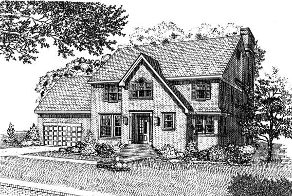 Colonial House Plan 90360 with 4 Beds, 3 Baths, 2 Car Garage Elevation