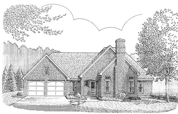 European, One-Story, Traditional House Plan 90361 with 3 Beds, 2 Baths, 2 Car Garage Elevation