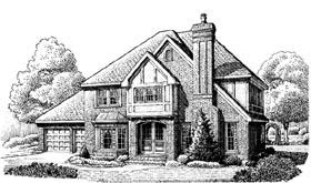 Tudor House Plan 90364 with 4 Beds, 3 Baths, 2 Car Garage Elevation