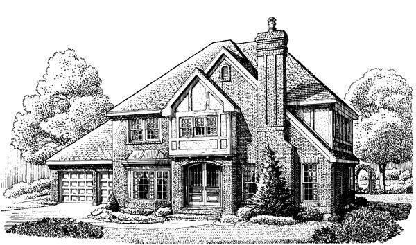 Tudor House Plan 90364 with 4 Beds, 3 Baths, 2 Car Garage Elevation