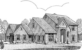 Colonial Ranch Traditional House Plan 90368 Elevation