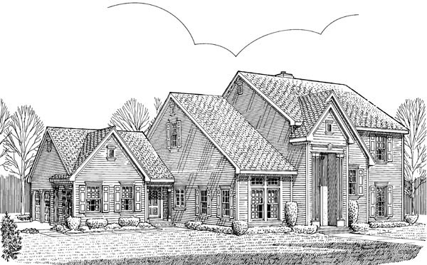 Colonial One-Story Ranch Traditional Elevation of Plan 90368