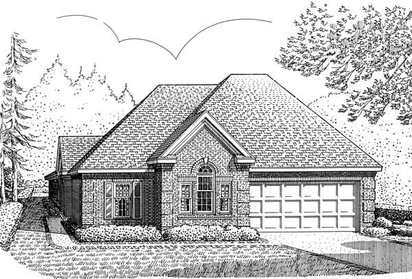 Contemporary, Craftsman, European, One-Story House Plan 90369 with 2 Beds, 2 Baths, 2 Car Garage Elevation