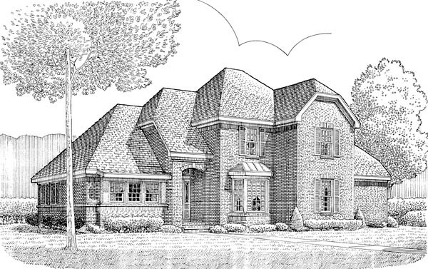 Tudor House Plan 90371 with 4 Beds, 3 Baths, 2 Car Garage Front Elevation