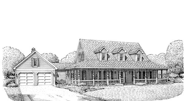 Country Farmhouse Southern House Plan 90374 Elevation