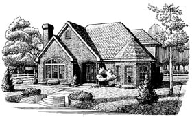 European House Plan 90375 with 3 Beds, 3 Baths Elevation