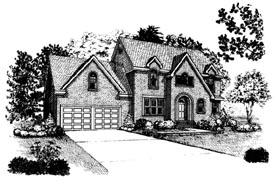 European House Plan 90376 with 4 Beds, 3 Baths, 2 Car Garage Elevation