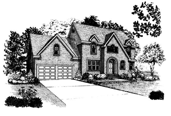 European House Plan 90376 with 4 Beds, 3 Baths, 2 Car Garage Elevation