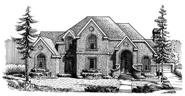 European House Plan 90377 Elevation
