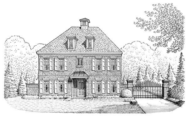 Cabin Colonial Contemporary Southern House Plan 90378 Elevation