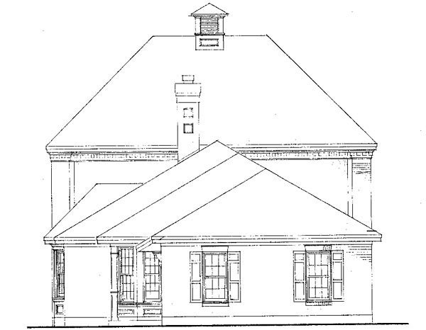 Cabin Colonial Contemporary Southern House Plan 90378 Rear Elevation
