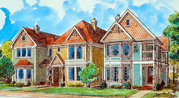 Country , Southern , Victorian House Plan 90382 with 2 Beds, 3 Baths, 2 Car Garage Elevation