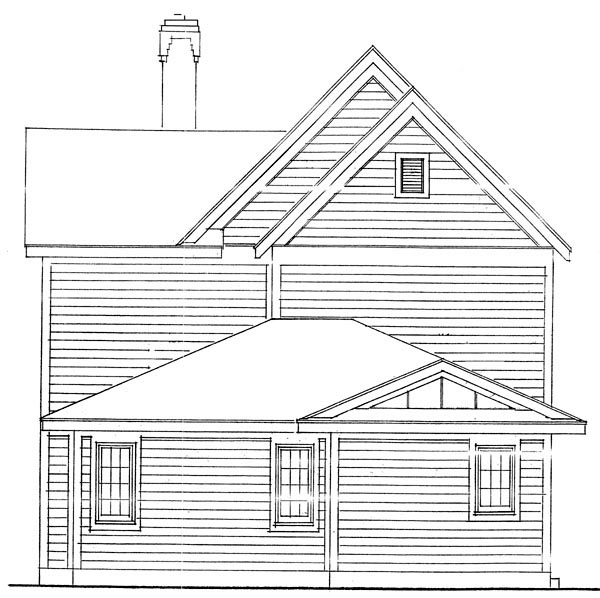 Country, Farmhouse, Narrow Lot House Plan 90388 with 3 Beds, 3 Baths, 2 Car Garage Rear Elevation