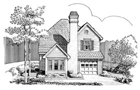 House Plan 90389 | Traditional Style Plan with 1690 Sq Ft, 3 Bedrooms, 3 Bathrooms, 2 Car Garage Elevation