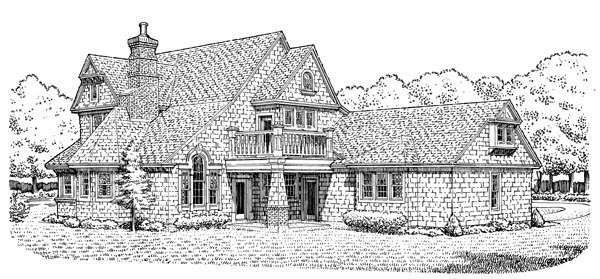 Cottage Craftsman Victorian House Plan 90391 Rear Elevation