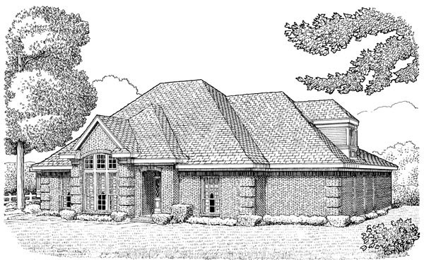European House Plan 90396 Elevation