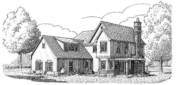 Contemporary Craftsman European House Plan 90397 Rear Elevation