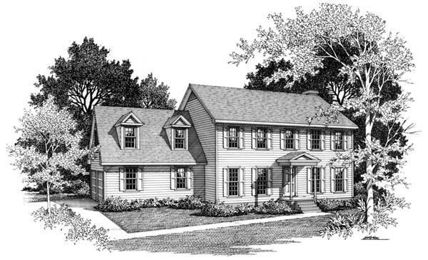 Colonial House Plan 90449 with 3 Beds, 3 Baths, 2 Car Garage Front Elevation