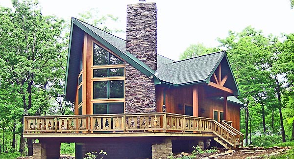 Contemporary Cottage Log House Plan 90600 Elevation