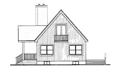 Contemporary Cottage Log House Plan 90600 Rear Elevation