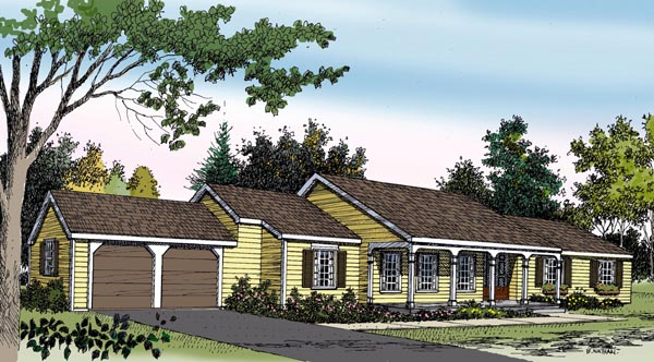 Ranch House Plan 90601 Elevation