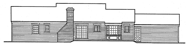 Ranch House Plan 90601 with 3 Beds, 3 Baths, 2 Car Garage Rear Elevation