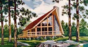 Contemporary , Cabin , A-Frame House Plan 90603 with 3 Beds, 2 Baths Elevation