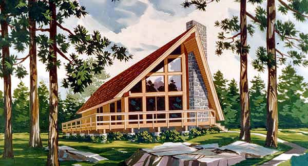 A-Frame Cabin Contemporary Elevation of Plan 90603
