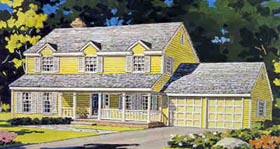 Colonial Country Farmhouse Traditional House Plan 90606 Elevation