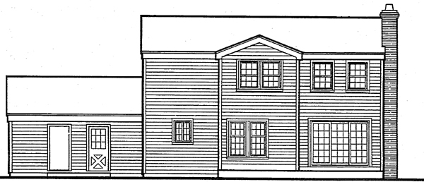 Colonial Country Farmhouse Traditional House Plan 90606 Rear Elevation