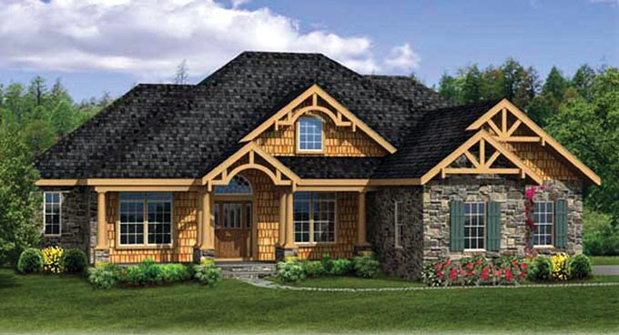 Country, Craftsman, Ranch House Plan 90607 with 4 Beds , 4 Baths , 3 Car Garage Elevation