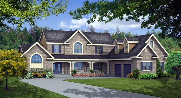 European Farmhouse Traditional House Plan 90610 Elevation