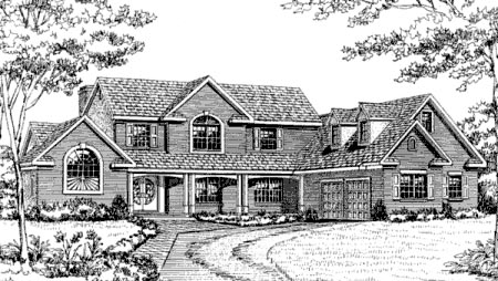 European Farmhouse Traditional House Plan 90610