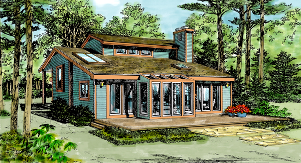 Cabin, Contemporary House Plan 90621 with 3 Beds , 2 Baths Elevation
