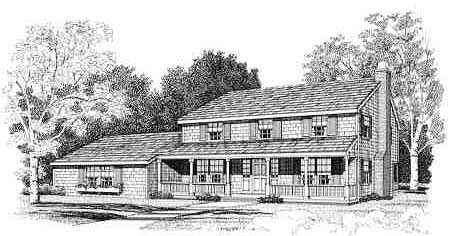 Colonial Farmhouse Traditional House Plan 90622 Elevation