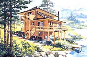 Cabin House Plan 90633 with 3 Beds, 3 Baths Elevation