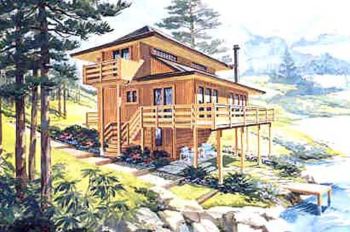 Cabin House Plan 90633 Elevation