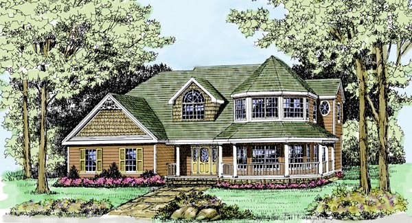 Country , Modern Farmhouse , Victorian , Elevation of Plan 90647