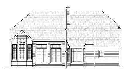 Country, Craftsman, Farmhouse House Plan 90666 with 4 Beds, 3 Baths, 2 Car Garage Rear Elevation