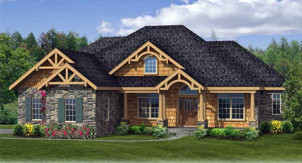 Country Craftsman Ranch Elevation of Plan 90667