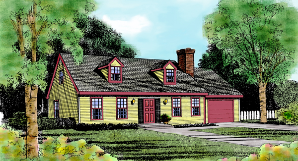 Cape Cod Country Traditional House Plan 90671 Elevation