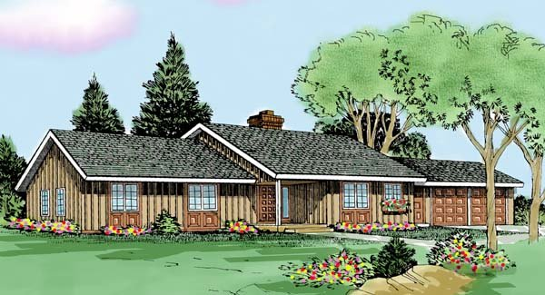 Contemporary, Country, Ranch House Plan 90676 with 3 Beds, 2 Baths, 2 Car Garage Elevation